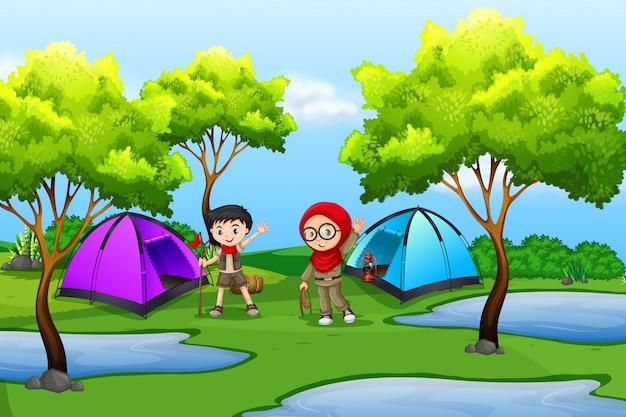 Menino, e, menina, scout, acampamento, em, natureza