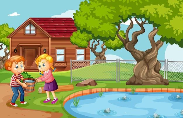 Menino e menina segurando um balde de madeira cheio de água na cena da natureza