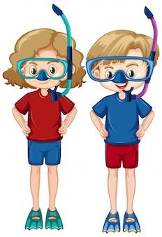 Menino e menina usando snorkels e barbatanas em fundo branco