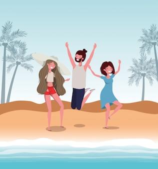 Menino e meninas com roupa de banho de verão