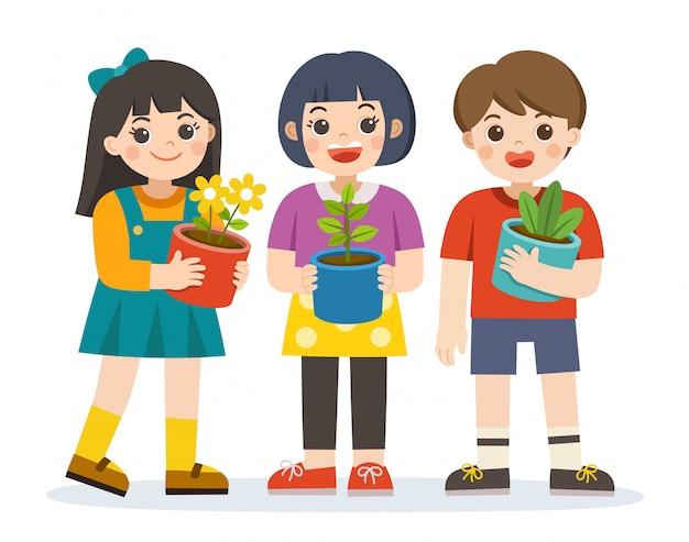 Menino e meninas segurando a planta e o vaso de flores na frente deles nos braços. salve a terra. feliz dia da terra. dia verde. conceito de ecologia. vetor isolado.