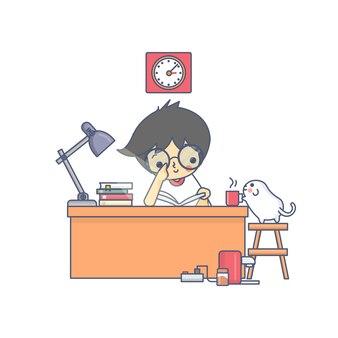 Menino e o cão lendo ilustração em vetor personagem livro