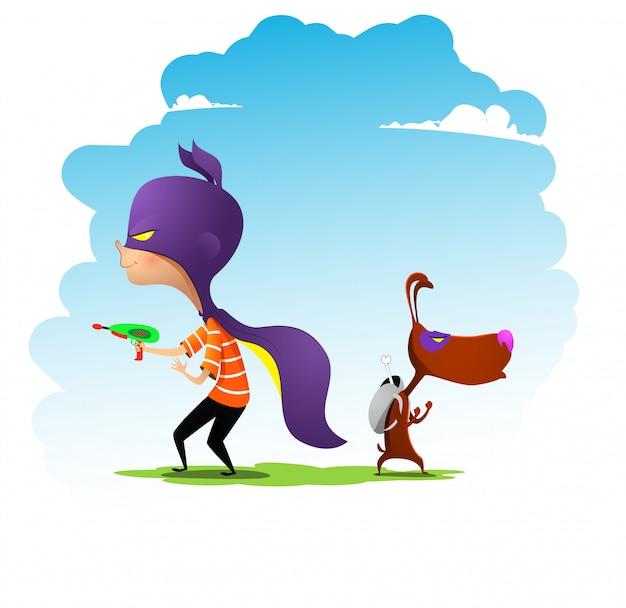 Menino e seu amigo cachorro, vestidos como super-heróis, brincam. ilustração em vetor dos desenhos animados