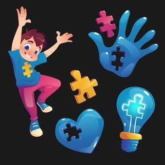 Menino e símbolos com peças de quebra-cabeça