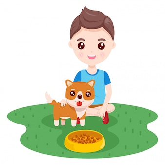 Menino e um cão