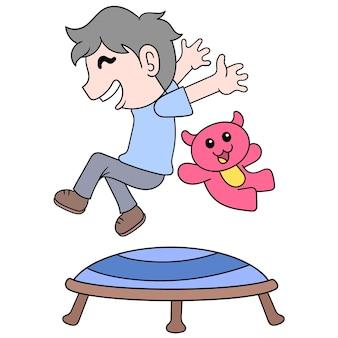 Menino e ursinho de pelúcia pulando na cama elástica quando estão felizes, a arte de ilustração vetorial. imagem de ícone do doodle kawaii.