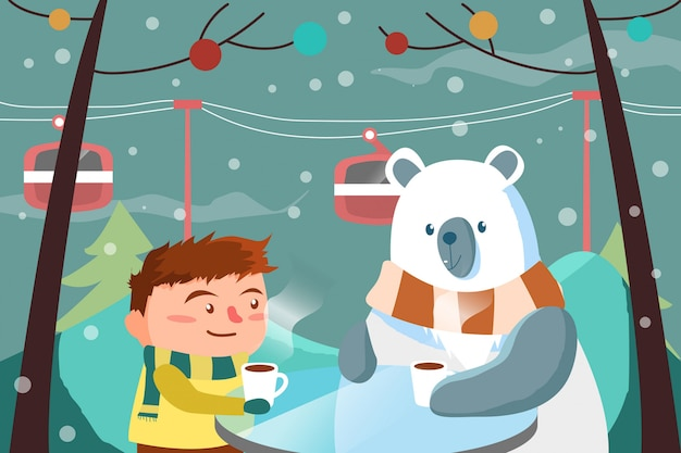 Menino e urso com café na temporada de inverno