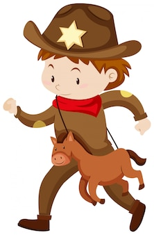 Menino, em, boiadeiro, equipamento, com, cavalo brinquedo