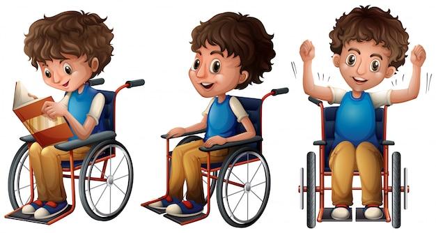 Menino, em, cadeira rodas, fazendo, três coisas