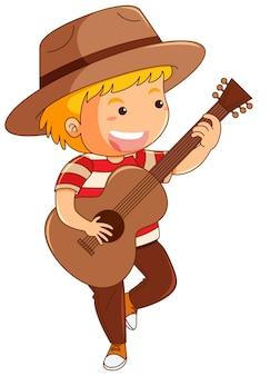 Menino em chapéu marrom tocando violão