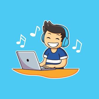 Menino em fones de ouvido tocando música no laptop com expressão feliz
