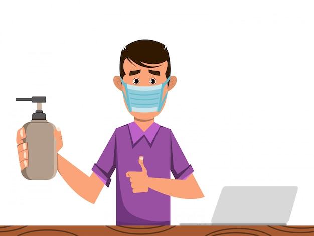 Menino em frasco médico e desinfetante para prevenir o coronavírus
