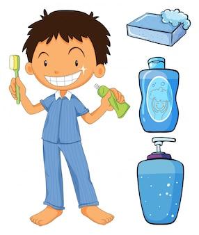 Menino em pijamas, escovando dentes, ilustração