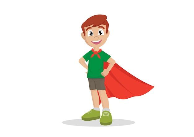 Menino em traje de super-heróis.