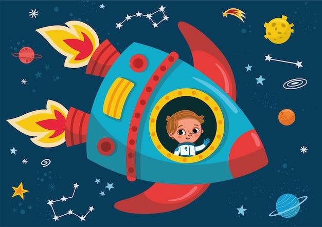 Menino em uma viagem de foguete ao espaço. ilustração vetorial