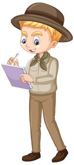 Menino em uniforme de safari