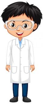 Menino em vestido de ciência