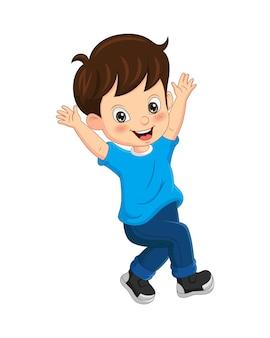 Menino engraçado de desenho animado levantou a mão isolada no branco