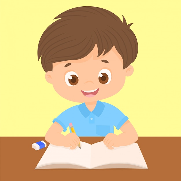 Menino, escrita, em, seu, escrivaninha