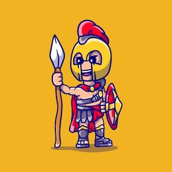 Menino espartano fofo carregando uma lança