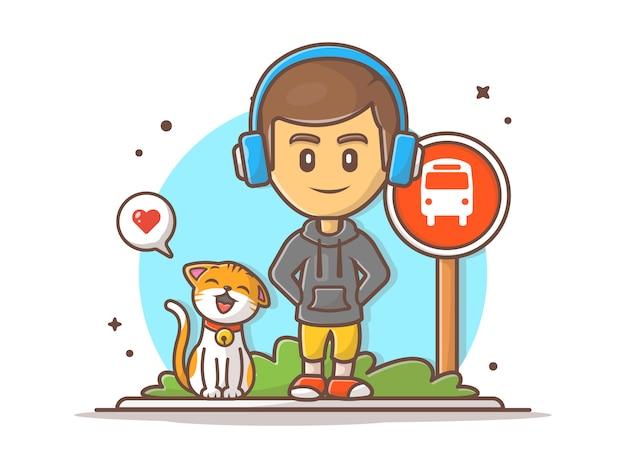 Menino esperando ônibus com ilustração de gato feliz