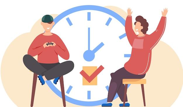 Menino está segurando um gamepad jogando videogame sentado perto de um grande relógio redondo. o homem ergueu alegremente as mãos para apoiar o jogador. personagens masculinos se comunicam. grande despertador no fundo