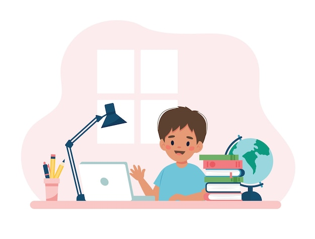 Menino estudando com computador e livros. conceito de ilustração vetorial no estilo cartoon