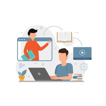 Menino estudando com laptop para ilustração vetorial de ensino de aprendizagem on-line
