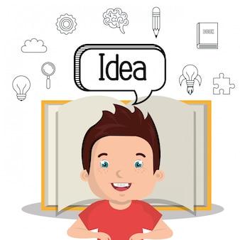 Menino estudando design ícone isolado
