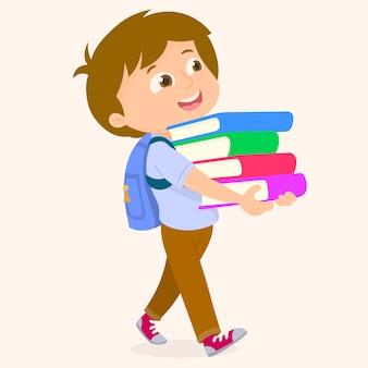 Menino estudante, com, bolsa escola, e, livros