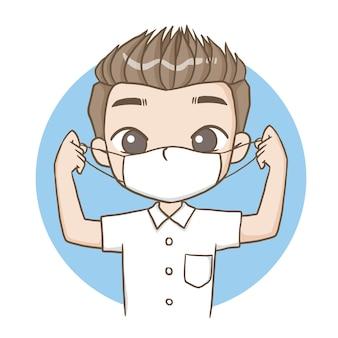 Menino, estudante masculino, usando uma máscara, personagem fofinho, desenho animado, modelo, emoção, ilustração clipart