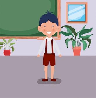 Menino estudante na sala de aula