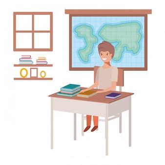 Menino estudante, sentando, em, geografia, sala aula