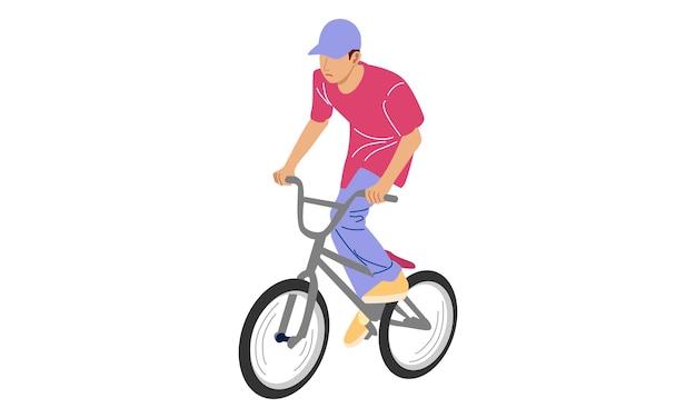 Menino exibindo truques de estilo livre com bicicleta
