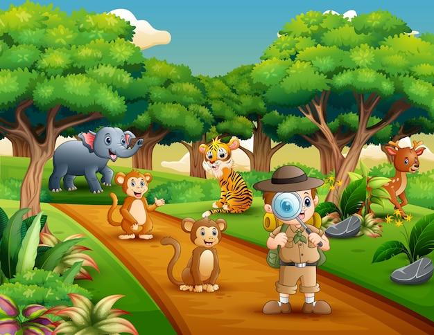 Menino explorador com lupa na selva