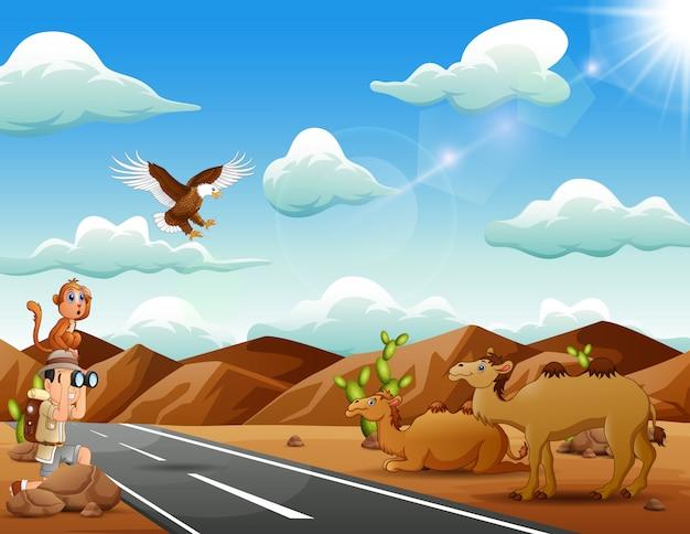 Menino explorador com muitos animais no deserto ensolarado