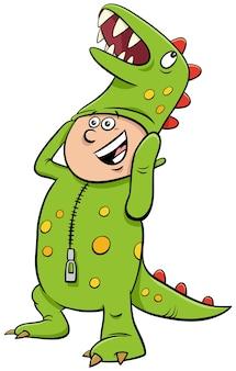 Menino fantasiado de dinossauro na ilustração dos desenhos animados da festa de halloween