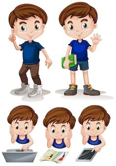 Menino fazendo diferentes atividades ilustração