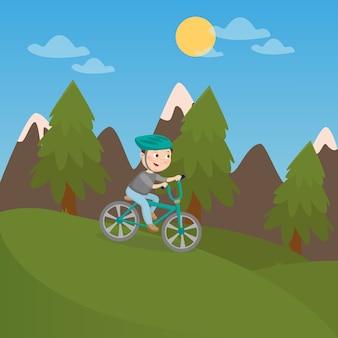 Menino feliz andando de bicicleta nas montanhas. férias de crianças. ilustração vetorial