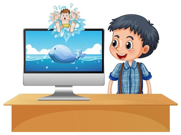 Menino feliz ao lado da tela do computador com cena do oceano
