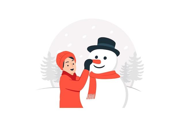 Menino feliz brincando com um boneco de neve na ilustração do conceito de dia de inverno