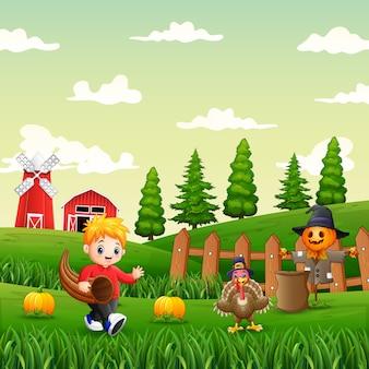 Menino feliz brincando em uma ilustração de jardim