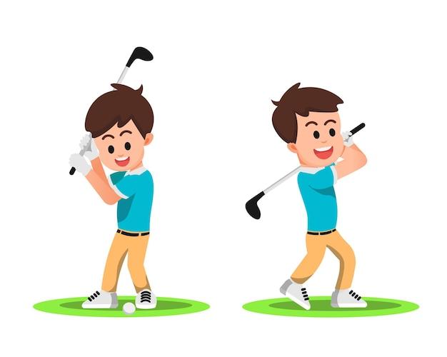 Menino feliz com alguns movimentos enquanto joga golfe Vetor Premium