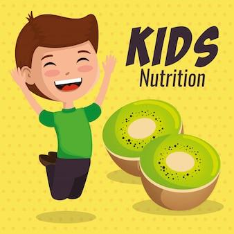 Menino feliz com comida nutrição