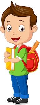 Menino feliz com livro e mochila