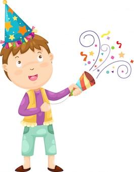 Menino feliz comemorando a ilustração
