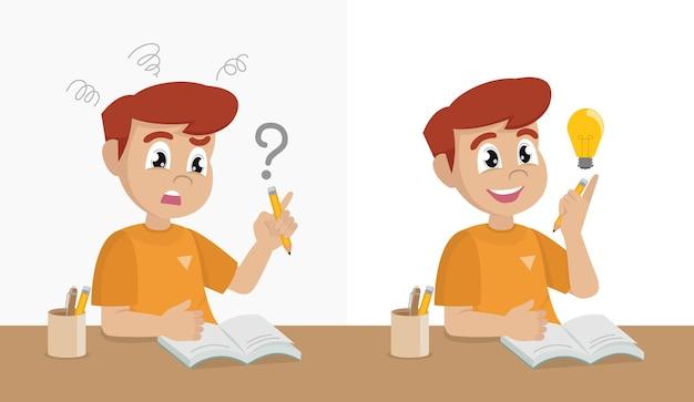 Menino feliz da escola, tendo problemas com o dever de casa e raciocínio difícil