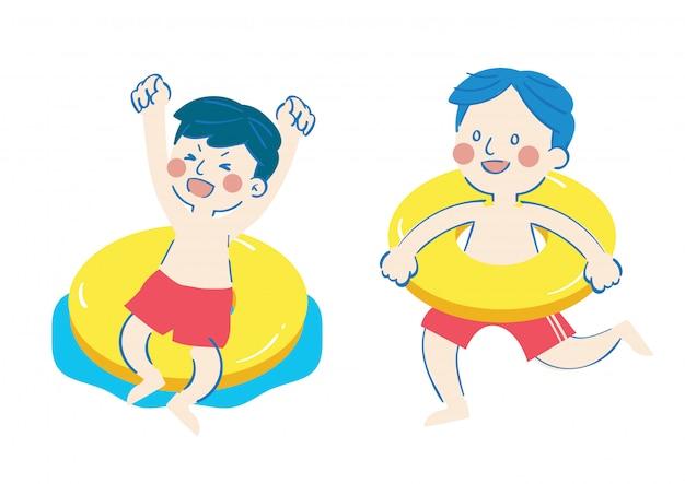 Menino feliz de natação feliz