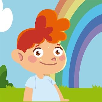 Menino feliz desenho animado do céu do arco-íris, ilustração das crianças