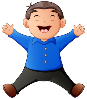 Menino feliz dos desenhos animados pulando